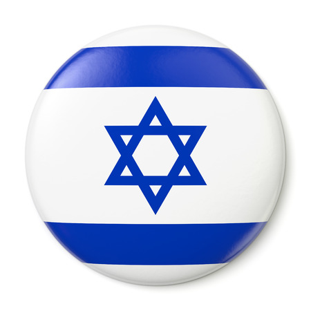 A pin button with the flag of the State of Israel  Isolated on white background