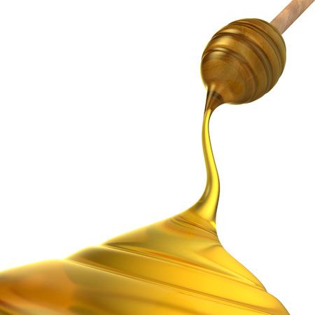Honey dripping on white background Stock Photo