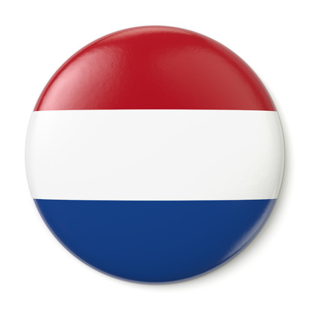 blue button: A pin button with the flag of the Kingdom of the Netherlands  Isolated