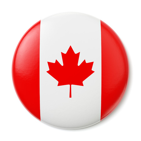 flag pin: A pin button with the flag of Canada  Isolated on white background Stock Photo