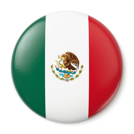 A pin button with the flag of the United Mexican States  Isolated on white background