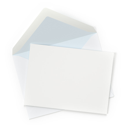 Envelope with blank letter on white background  photo