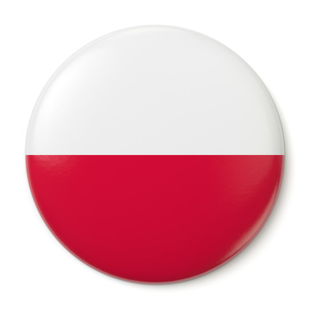 polska: A pin button with the flag of the Republic of Poland  Isolated on white background