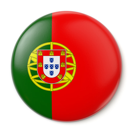 A pin button with the flag of the Portuguese Republic  Isolated on white background  Stock Photo