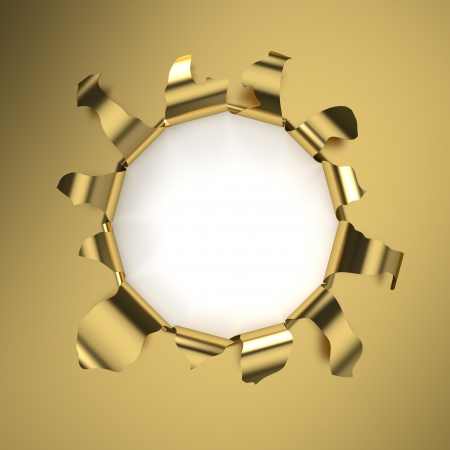 Hole in a golden sheet  Computer generated image with clipping path