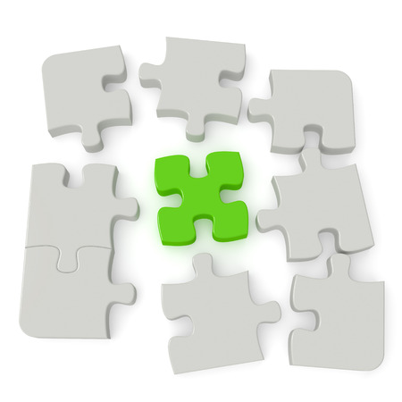 Grey puzzle with a single green main piece isolated on white background  Computer generated image with clipping path