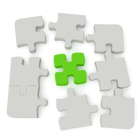 solter�a: Imagen del rompecabezas gris con una sola pieza principal verde aislado en el fondo blanco Generados por computadora con trazado de recorte