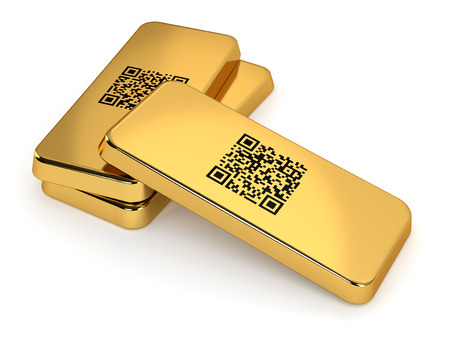 Three gold bars with QR code isolated on white background  Computer generated image