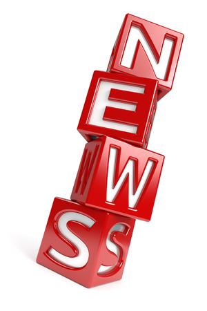 The word  NEWS  created with dices on white background   Stock Photo