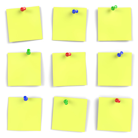 Vibrant yellow notes with push pins on white board  Computer generated image with multiple clipping paths