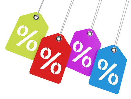Percentage tags isolated on white background  Computer generated image with clipping paths  Stock Photo