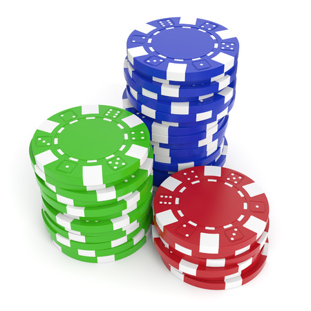 Gaming chips isolated on white background  Clipping path included  Archivio Fotografico