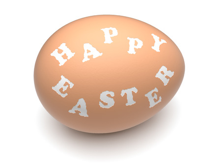 Happy Easter  words engraved on hen Stock Photo