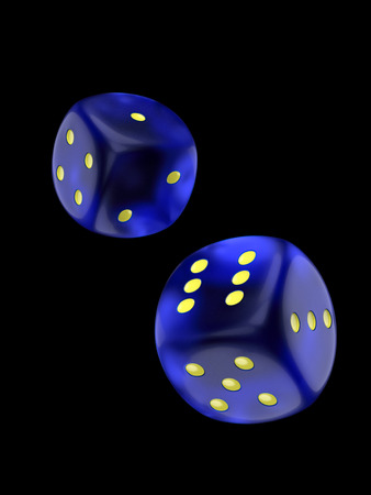 Two dice isolated over black background with clipping path