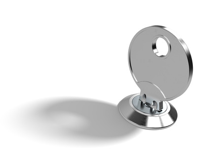 chromium plated: A key in the lock on white background with clipping path