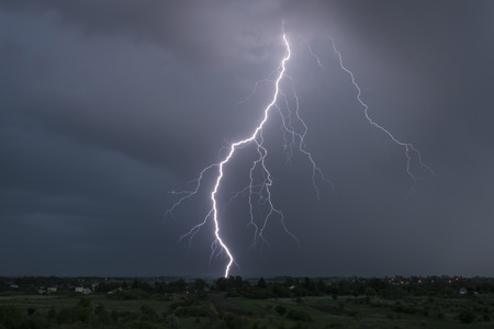 ramification: lightning hitting the ground Stock Photo