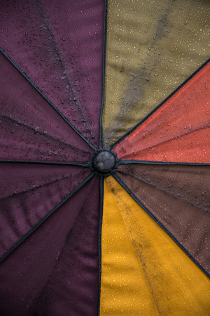 precipitation: Wet colorful umbrella