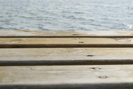 platforms: Wooden platforms and water