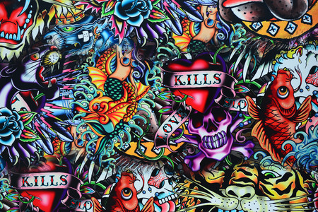 Grunge Wand Tattoo Stil Schädel bunt
