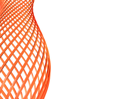 loops: 3d abstract orange glass loops on white background