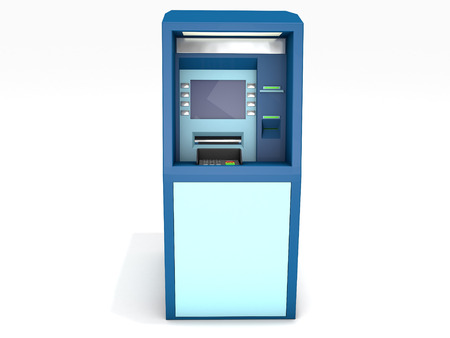 3D rendered ATM on white background