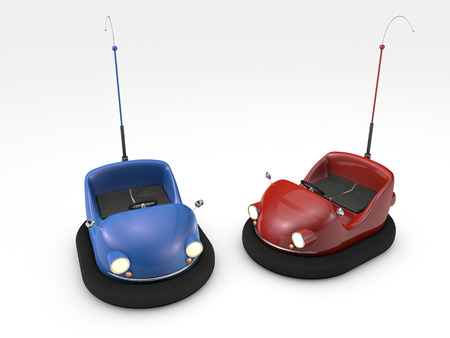 3D rendered bumper cars on white background