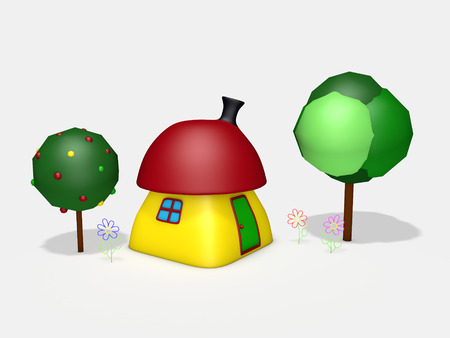 3d cartoon colorful small house with trees and flowers on white background