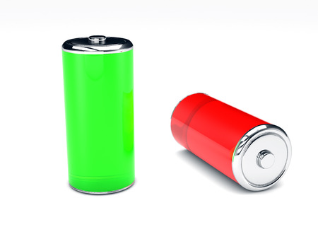 green and red 3D rendered battery on white background