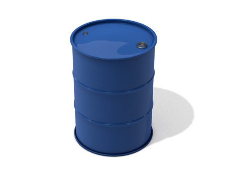 liter: blue metal 200 liter barrel on white background