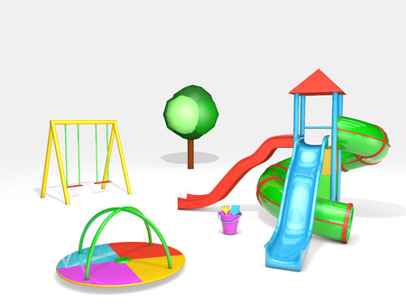 3D rendered children playground on white background