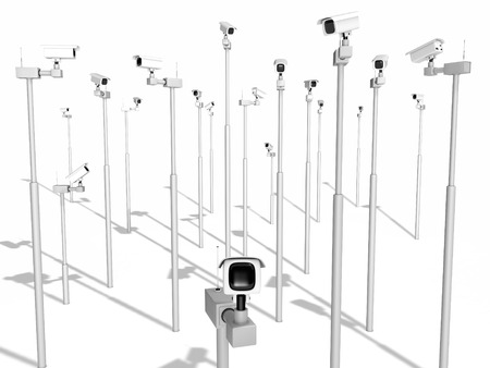 security cameras: security cameras on white background