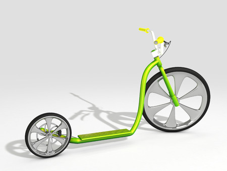 green scooter on white background