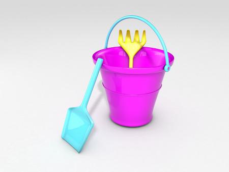 bucket, shovel and rake on white background