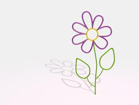 violet glass flower on white background