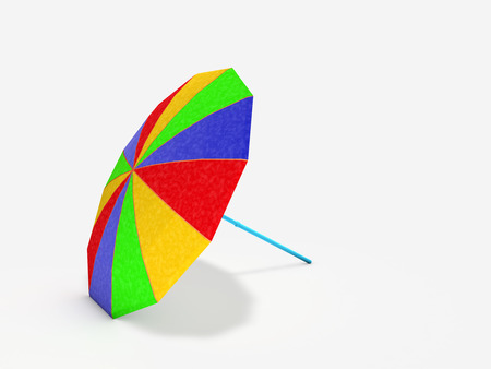 colorful parasol laid on white background