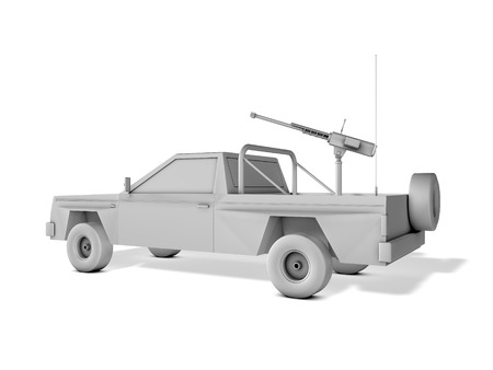 separatist: pickup truck armed with machine gun on white background