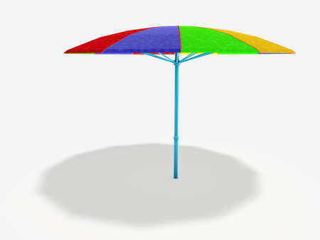 colorful parasol on white background with shadow Фото со стока
