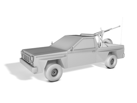 pickup truck armed with machine gun on white background