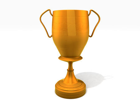 3d rendered trophy cup on white background