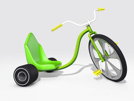 green kid trike on white Фото со стока
