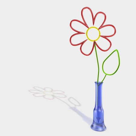 glass flower in a vase on white background Фото со стока