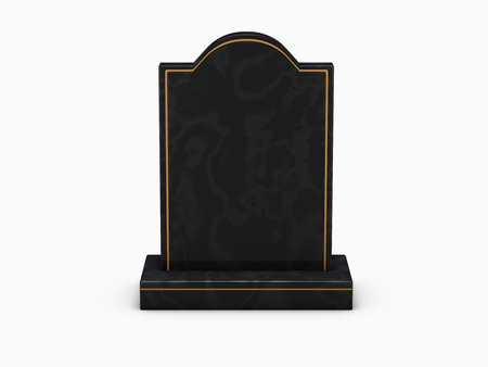 black marble gravestone on white background Фото со стока