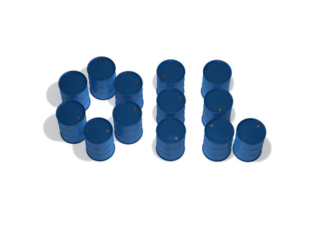 the word oil made from barrels on white background