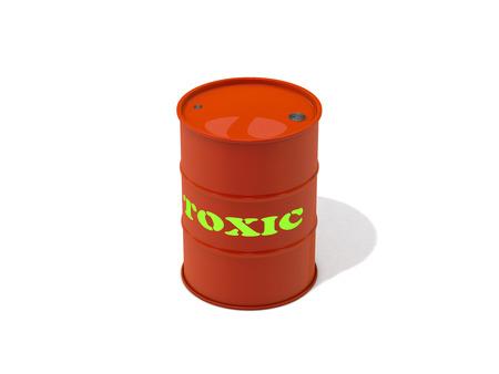 residuos toxicos: Barril de la basura t�xica en el fondo blanco