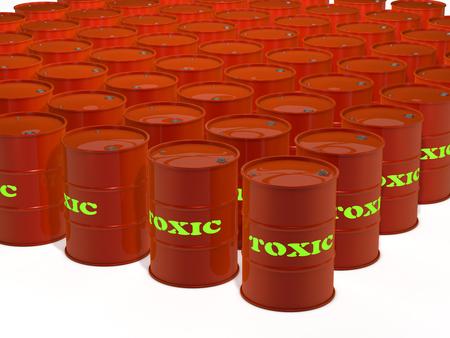toxic waste barrels on white background