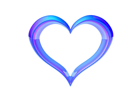 3d rendered glass heart on white background