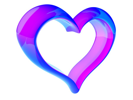 pink blue heart isolated on white background