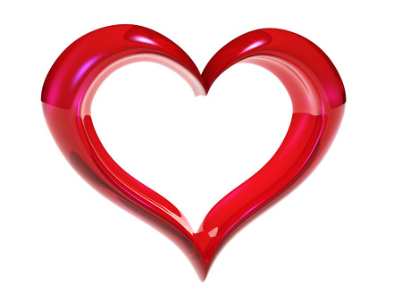red heart on white background Фото со стока