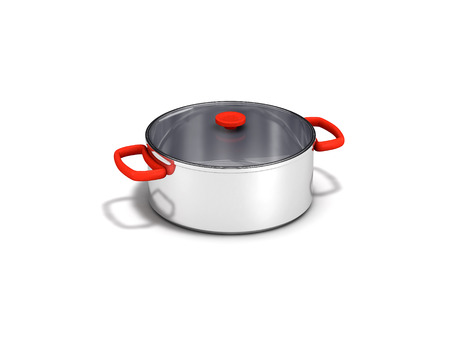 stainless pot with lid on white background