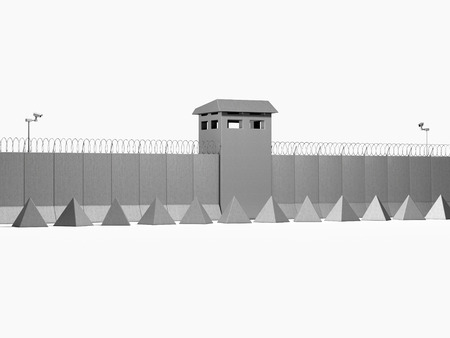 separation barrier on white background